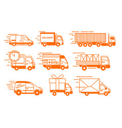 delivery truck icons isolated flat van vector image