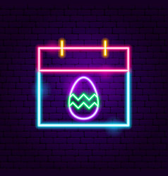 Easter calendar neon sign vector