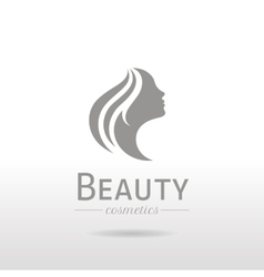 Elegant luxury logo with beautiful face of young vector image