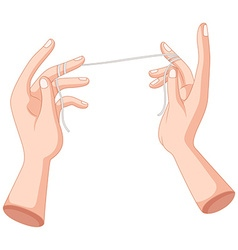 Flossing string wrapped on fingers vector