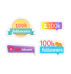 follow me and followers amount stickers vector image