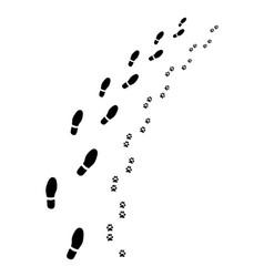 Footprints man and dog vector