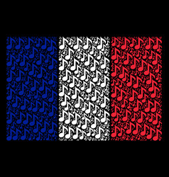 French flag collage of musical note items vector
