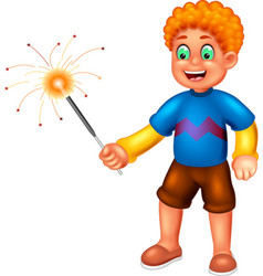 funny boy playing firework cartoon vector image