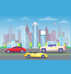 futuristic business center and vehicles on roads vector image