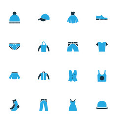 Garment colorful icons set collection cap vector