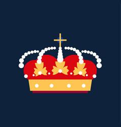 gold king crown icon flat cartoon cartoon vector image