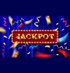 gold light jackpot retro signboard vector image