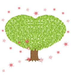 Green tree with heart shaped crown vector