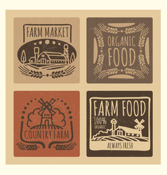 Grunge organic food farm market vintage labels vector
