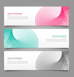 Halftone banner design in three different colors vector