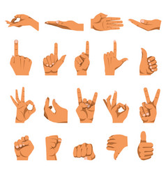 Hand and finger gestures flat isolated vector