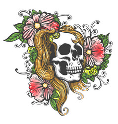 hand drawn human skull with flowers tattoo vector image