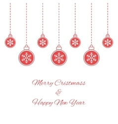 Hanging red baubles with snowflakes vector image