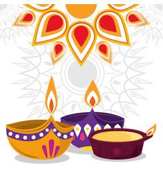 happy diwali festival diya lamps lights vector image