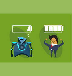 Human vs robots modern robotic and business man vector