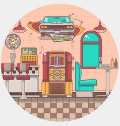 Interior an old american diner restaurant vector