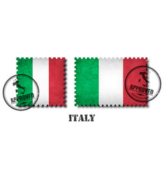 italy or italian flag pattern postage stamp with vector image