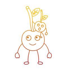 kawaii two cartoon fruit cherry cute vector image