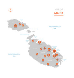 Malta map with administrative divisions vector