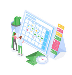 Man and woman standing in front giant schedule vector