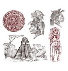 Maya vintage pyramid portrait a man vector