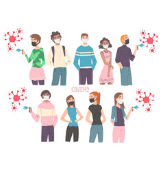 men and women wearing protective face masks vector image