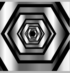 Metallic hexagonal illusion in metallic colors vector