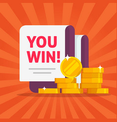 Money winner banner with you win text message vector