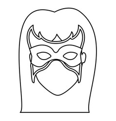 Monochrome contour of faceless woman superhero vector