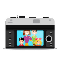 Old style retro camera back with happy famil vector