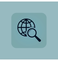 Pale blue global search icon vector