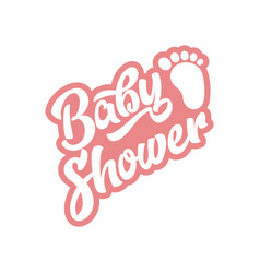 pink baby foot baby shower invite greeting card vector image