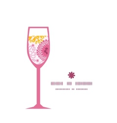 pink field flowers wine glass silhouette pattern vector image