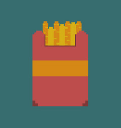 Pixel icon in flat style french fries vector