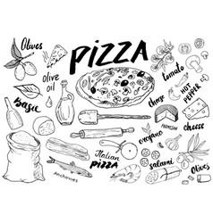 Pizza menu hand drawn sketch set pizza vector