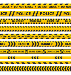 Police black and yellow line do not cross vector