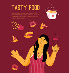 poster tasty food concept vector image