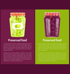 Preserved food poster canned plums and green olive vector