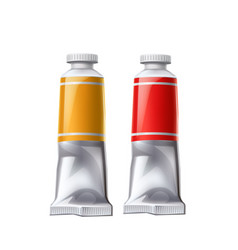 realistic paint tube set acrylic paint vector image