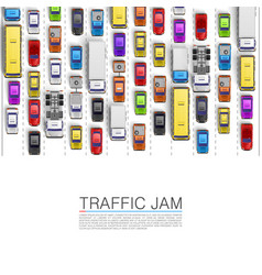 Road cars transport traffic jam background vector