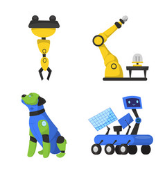 Robot and factory logo set vector
