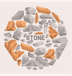 Rock stones cartoon flat banner stones and rocks vector