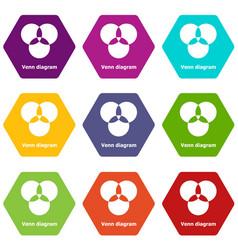 Round venn diagram icons set 9 vector