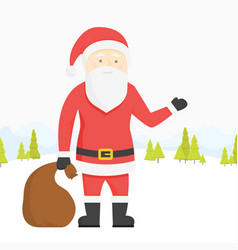 santa claus pulls a heavy bag full gifts on vector image
