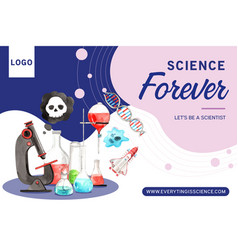 Science frame design with microscope rocket vector