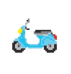 Scooter motorbike in pixel art style isolated vector image