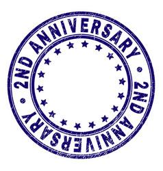 Scratched textured 2nd anniversary round stamp vector
