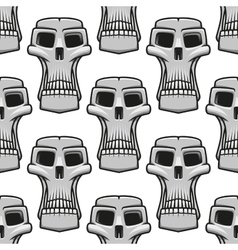 Seamless pattern of spooky Halloween skulls vector image