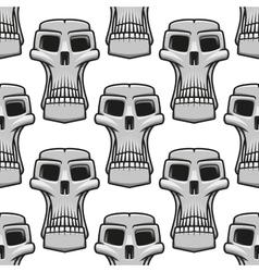 seamless pattern spooky halloween skulls vector image